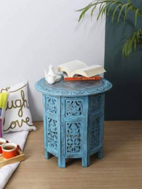 Decorhand Wooden Handcrafted Carved Solid Folding Coffee Table Solid Wood Side Table Solid Wood Side Table