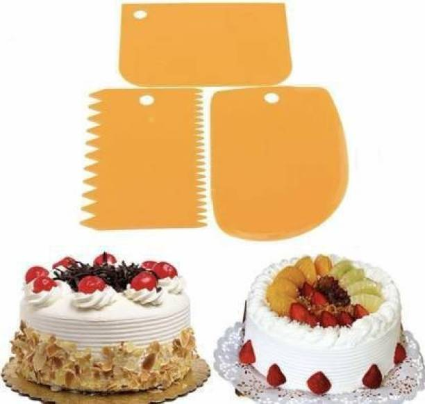 ALAMDAAR 3 Pcs Set Plastic Side Scraper for Cake with Different Pattern Edge Cream Icing Fondant Cake Decorating Tools, Dough Bench Scraper Cake Cutter, Chopper, Smoother Baking Tool Baking Comb