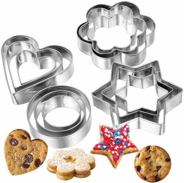 ZURU BUNCH Stainless Steel Cookie Cutter Set 12 Pieces Includes- 3 Stars Shape, 3 Flowers Shape, 3 Round Shape, 3 Hearts Shape- Cookie Cutter with 4 Shapes Cookie Cutter