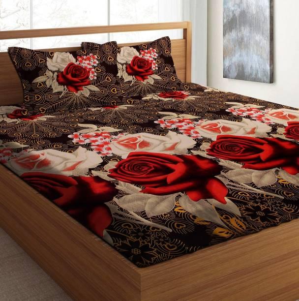 Casa Confort 120 TC Microfiber Double Floral Bedsheet