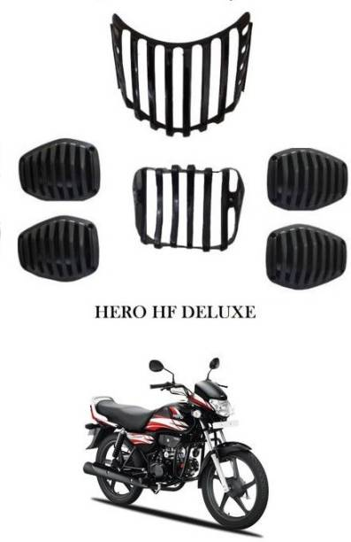 GRILLO HF Deluxe bike, Headlight back ,indicator Grill Set of -6 (FOR Hero HF Deluxe) Bike Headlight Grill (Black) Bike Headlight Grill