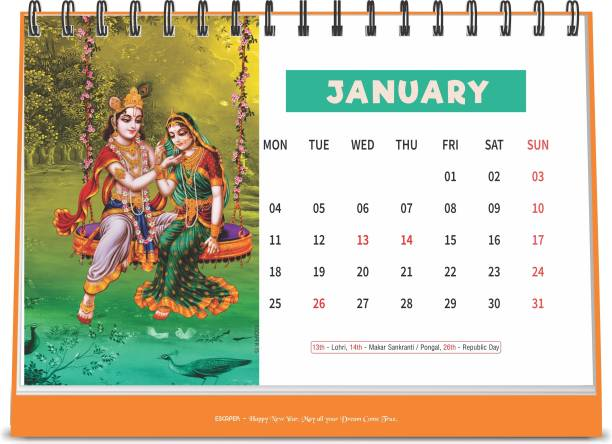 ESCAPER Lord Krishna Lord Ganesha 2021 Devotional Table Calendar (A5 Size - 8.5 x 5.5 inch - 12 Pages Month Wise), Religious Calendar 2021 2021 Table Calendar