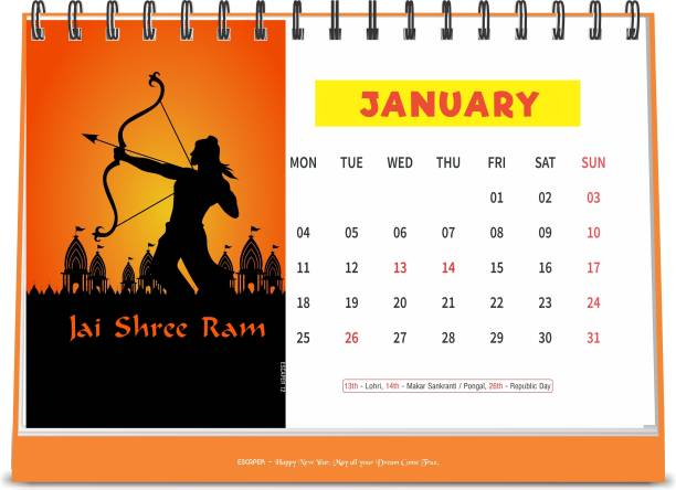 ESCAPER Hindu Gods 2021 Devotional Table Calendar (A5 Size - 8.5 x 5.5 inch - 12 Pages Month Wise), Religious Calendar 2021, Hindu Calendar 2021 Table Calendar