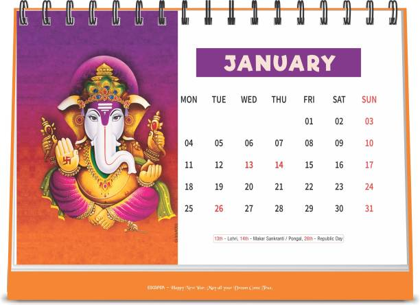 ESCAPER Lord Ganesha 2021 Devotional Table Calendar (A5 Size - 8.5 x 5.5 inch - 12 Pages Month Wise), Religious Calendar 2021 2021 Table Calendar