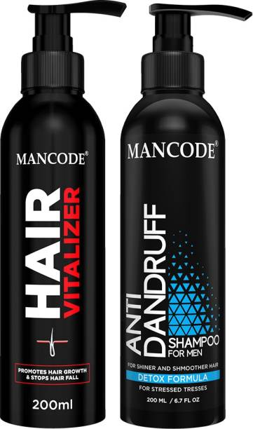 MANCODE Hair Vitalizer,200ml and Anti Dandruff Shampoo,200ml Prevents Dandruff, Makes your Hair Shinier, Scalp Healthy and Itch-Free, Enhances Hair Quality making it Smoother and Stronger, Tames Rough and Frizzy Hair, Suitable for all Hair Types, COMBO OF 2