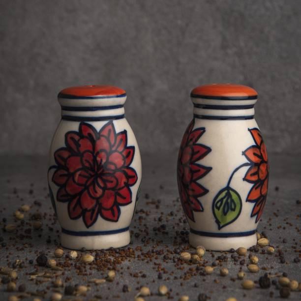 Hindustani Saudagar Ceramic Handpainted Salt & Pepper Dispenser Set (White)  - 65 ml Ceramic Grocery Container