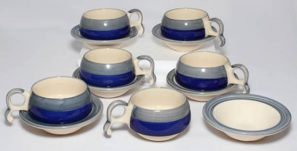 Designo Prints Pack of 12 Ceramic Blue Grey Design Cup Saucer (Set of 6)