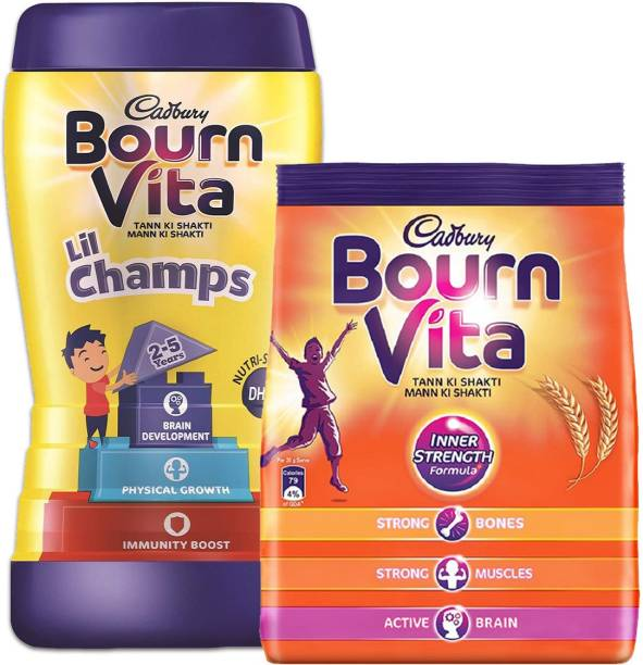 Cadbury Bournvita Inner Strength 500 G Pouch (Pack of 1) + Lil Champs 500 G Jar (Pack of 1) Energy Drink