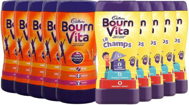 Cadbury Bournvita Lil Champs 200 (Pack of 5) + Inner Strength 200 Gm (Pack of 5) (Total 10 units) Energy Drink
