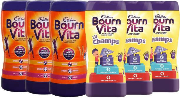 Cadbury Bournvita Lil Champs 200 (Pack of 3) + Inner Strength 200 Gm (Pack of 3) Total Pack of 6 Energy Drink