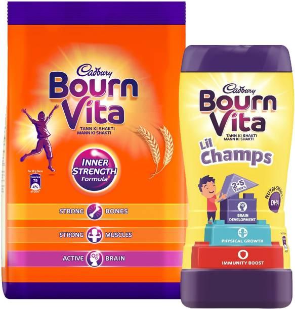 Cadbury Bournvita Inner Strength 750 G Pouch X 1 + Lil Champs 500 G Jar X 1 Energy Drink