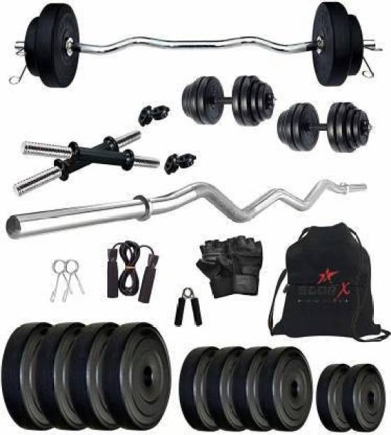 Star X 50 kg PVC 50KG Weight Plates with 3Ft Curl Rod and 5Ft Straight Rod with Gym Accessories Home Gym Combo Home Gym Combo