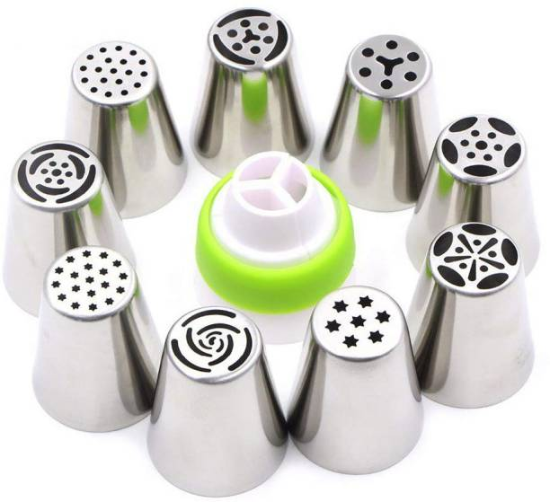 Top Trick Stainless Steel Icing Nozzles with 1 Coupler for Decorating Frosting Cupcake Desserts Steel, Plastic Multi-opening Icing Nozzle