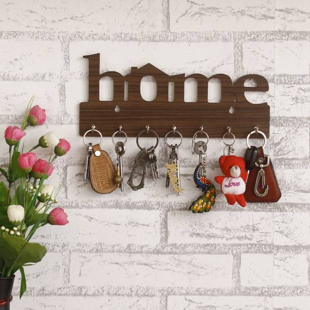 "WebelKart ""Home "" Wall Mounted Key Holder for Wall/Home Decor/Office Decor - 7 Hooks Wood Key Holder"