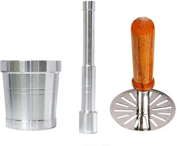 AXOLOTL Aluminium Mortar and Pestle set/Imam Dasta/Okhli and Wooden Handle Steel Potato Masher Aluminium, Steel Masher