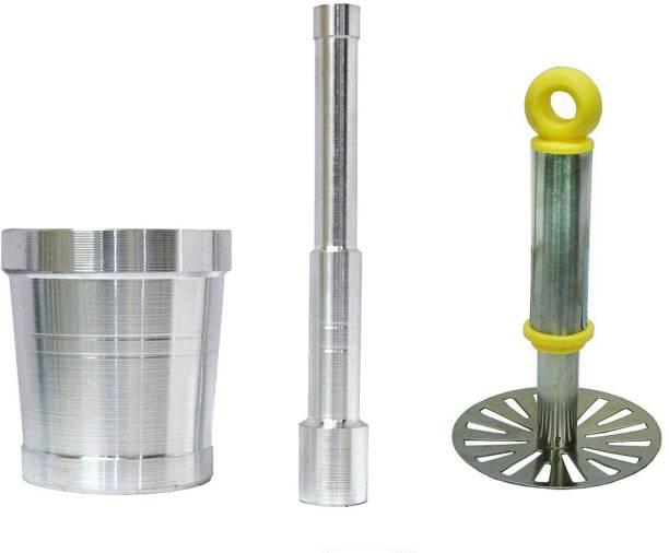 AXOLOTL Aluminium Mortar and Pestle set/Imam Dasta/Okhli and Plastic Handle Steel Potato Masher Aluminium, Steel Masher