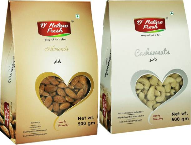 D NATURE FRESH Premium Almond (500g) and Cashew (500g) 1kg dry fruits combo pack Cashews, Almonds