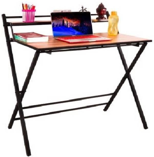K.F.INTERIORS Work from Home Foldable Laptop Table - Study Desk - Multipurpose Portable Adjustable Bookshelf for Workstation Office Metal Study Table
