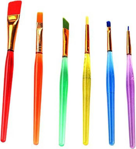 Perfect Pricee 6 pc Colorful Paint Brush Nail Brush Art Artistic Brush Water Coloring Brushes Flat Paint Brush for Oil Acrylic & Oil Paintings,Perfect for Painting Canvas,Ceramic,Clay,