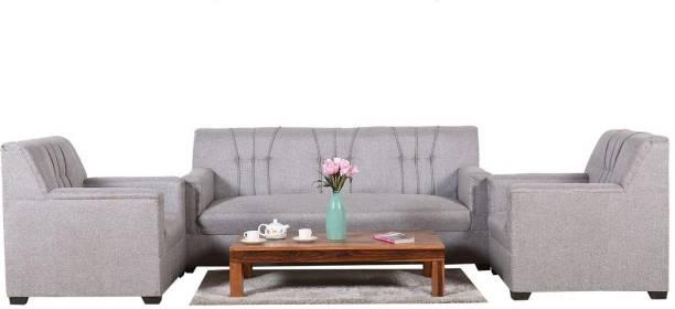 NaturalFinish Fabric 3 + 1 + 1 Grey Sofa Set
