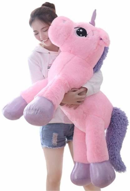 eston Big Size Funny Unicorn Stuffed Animal Plush Toy, 100CM (Pink) Made in India  - 100 cm