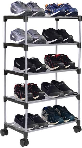 FLIPZON Premium 5 Shelve Smart Shoe Rack/Multipurpose Storage Rack with Wheels Metal Shoe Stand