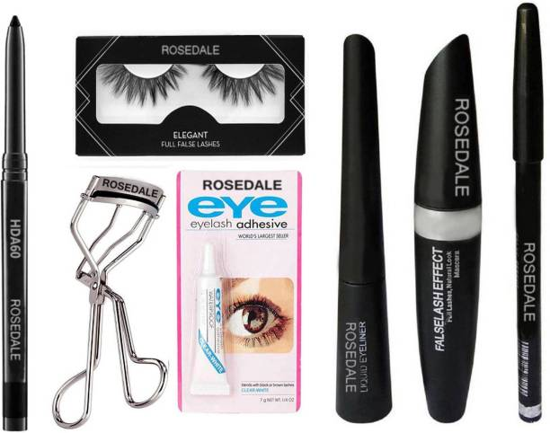 Crynn Smudge Proof HDA64 Makeup Beauty Kajal & Rosedale 3in1 Insta Infallible Eyeliner , Eyebrow Pencil , Mascara & Rosedale False Eyelashes & Eyelash Glue & Eyelash Curler