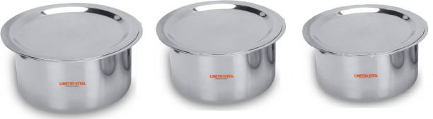 LIMETRO STEEL 3 Pcs Stainless Steel Cookware Set Induction Bottom Cookware Set