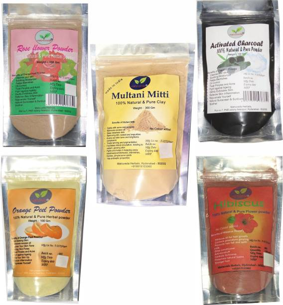 matruveda 100% pure face pack 5 in 1 combo - Activated Charcoal powder 100gm, Orange peel 100gm, Rose flower powder 100gm, Hibiscus flower face care powder 100gm & Multani mitti 300gm