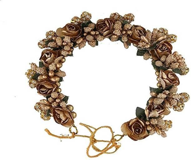 SP Juda Bun Hair Gajra Artificial Flower Accessories For Women Style, Hair Gajra For Bridal Bun Decoration, Golden, Pack of 1 Bun Clip