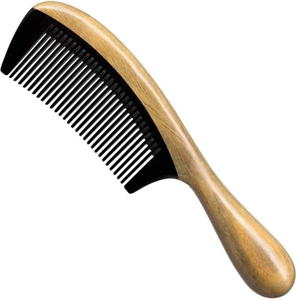 "Ginni Marketing Handmade Fine Tooth Buffalo Horn Wooden Comb(Size-8.25"")"