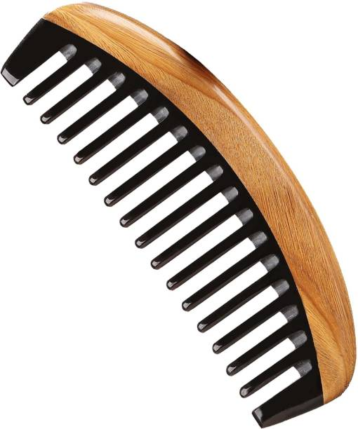 "Ginni Marketing Handmade Wide Tooth Buffalo Horn Wooden Comb(Size-6"")"