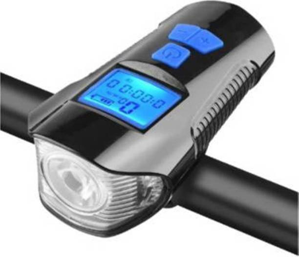 Gacher Bicycle 3-in-1 USB Rechargeable LED Front Light, Horn (6 sounds) & Stopwatch Bell