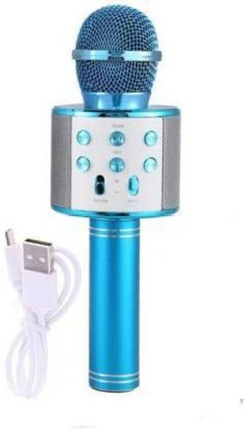 little monkey High qauility WS-858 Wireless Bluetooth Microphone Connection Player Speaker 2-in1 (Blue) MICROPHONE
