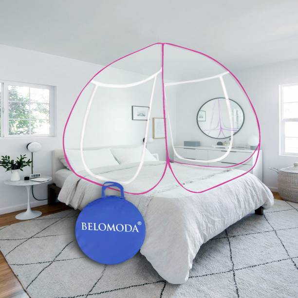 BELOMODA Polyester Adults Pink Mosquito Net Polyester Adults Net King Size Double bed Mosquito Net Mosquito Net