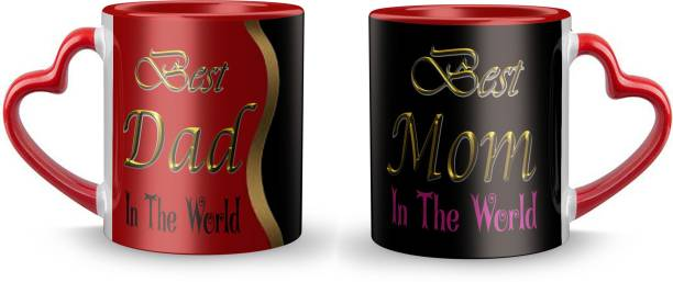 """Youth Style """"Best Dad Best Mom"""" Printed Red heart shape handle Coffee and Tea Ceramic- 11Oz Black Gift for Birthday , anniversary Couple, beutyfull set of 2 Rh- 957 Ceramic Coffee Mug"""