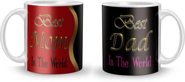 """Youth Style """"Best Dad Best Mom"""" Printed Coffee and Tea Ceramic- 11Oz Black Gift for Birthday , anniversary Couple, beutyfull set of 2 W- 957 Ceramic Coffee Mug"""