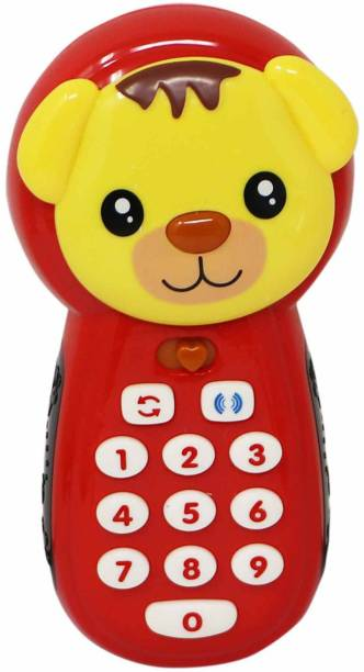 Shanaya Baby Learning Mobile Phone with LED Screen Music Telephone Cartoon Phone, Bright Colors, Multiple Sounds Toy for Kids - RED