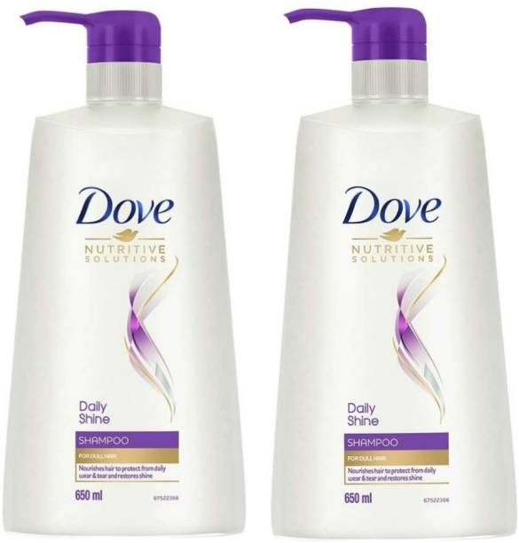 DOVE New Daily Shine Shampoo 650 ml,Pack of 2