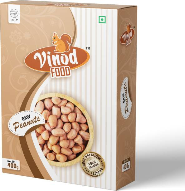 Vinod Food Raw Peanuts, Groundnut, Mungfali seeds 400GM Nitrogen Packing, Fresh & Whole groundnut seeds