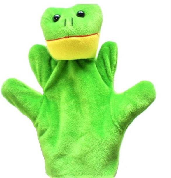 Kuhu Creations Green Frog Hand Puppets