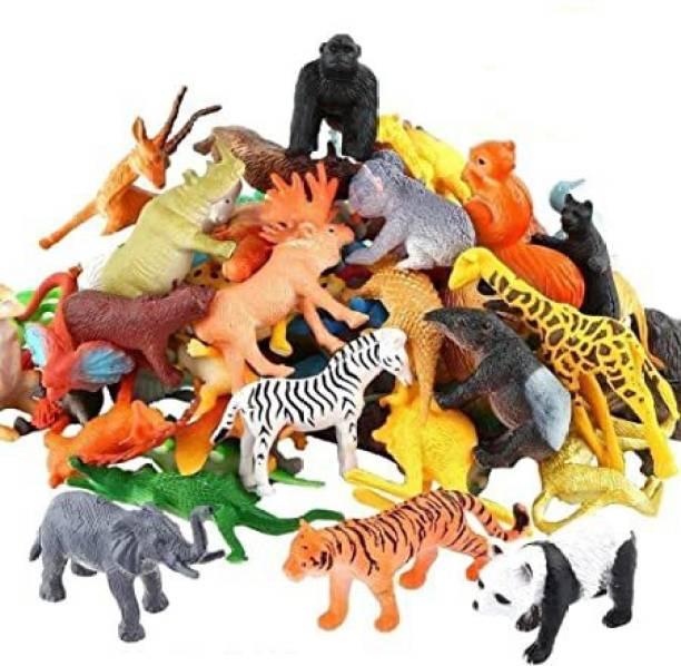 INFINITE POCKET Zoo Wild Animals Figures Set for Kids - Pack of 20 Animals (Multicolor)