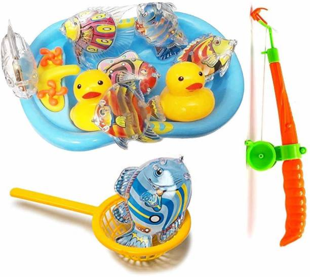 TEMSON Magnetic Fishing Rod Game Bath Toy with Plastic Aquatic Animals for Kids Bath Toy