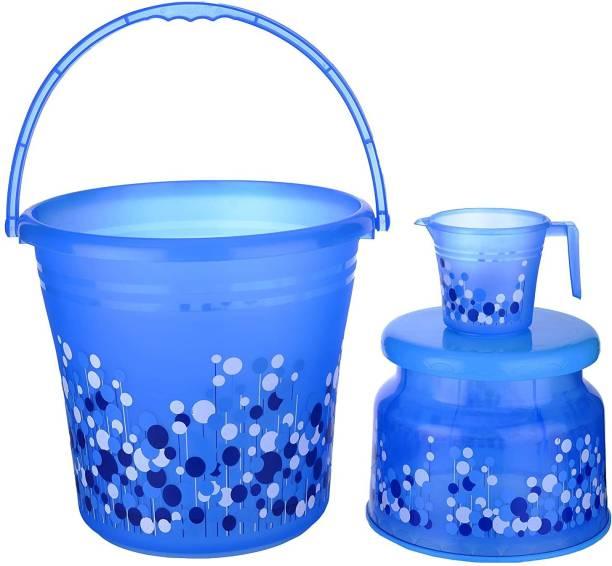 AK HUB New Standard Plastic Bucket with Mug & Stool ( Blue ) - 20 L Plastic Bucket