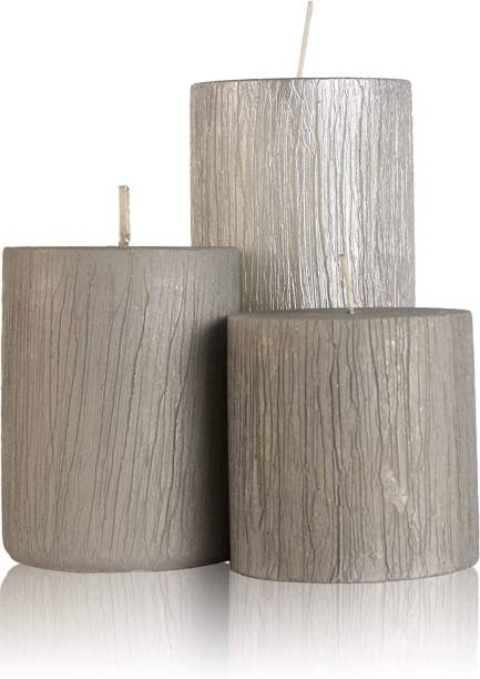 Floryn decor Rustic Metallic Silver Pillar Candle