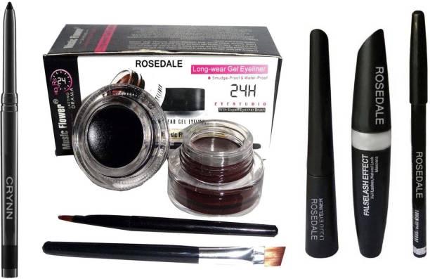 Crynn Smudge Proof HDA64 Makeup Beauty Kajal & Rosedale Eyeliner , Mascara , Eyebrow Pencil & Music Flower Black & Brown Gel Eyeliner