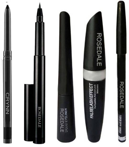 Crynn Smudge Proof HDA64 Makeup Beauty Kajal & Yanqina High Quality Waterproof Liquid-Eye Liner 36H No Smudge Suitable For Contact Lens Users 3 g Deep Black & Rosedale 3in1 Ultra Eyeliner , Mascara , Eyebrow Pencil