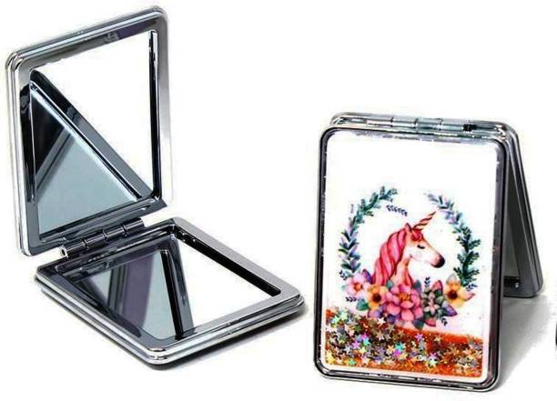 Crazycute Unicorn Design Stainless Steel Mirror - Double Sides Portable Foldable Pocket Cosmetic Makeup Mirror Metal for Women - Random models will be Sent
