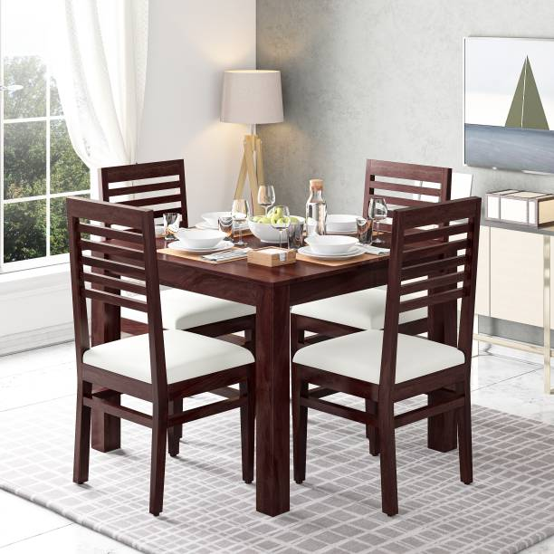 Suncrown Furniture Sheesham Wood Dining Table Set for Living Room Solid Wood 4 Seater Dining Set