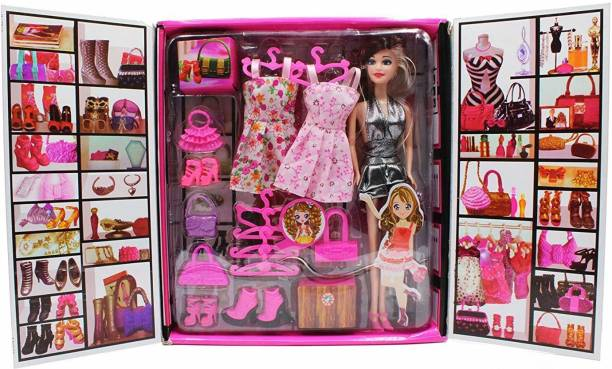 Toyvala Fashion Doll Set in Cupboard Type Box   Party Girl Doll and Her Personal Style Wardrobe Set for Kids Multi Color   20 Pieces Including in Box